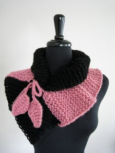 SALE - Pink and Black Color Knitted Woman Scarf Collar Necklet Scarflette with Crocheted Leaves