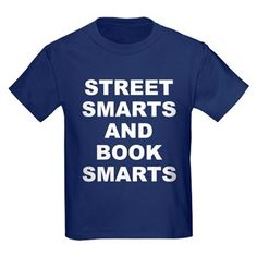 Children's dark color navy blue t-shirt with Street Smarts And Book Smarts theme. In most cases the average person either has street smarts or book smarts. When someone has both they have an advantage in society. Available in black, red, navy blue, royal blue, purple; kids x-small, kids small, kids medium, kids large, kids x-large for only $23.99. Go to the link to purchase the product and to see other options – http://www.cafepress.com/stsmarts