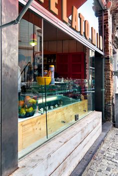 Gelato Mio | Bucharest Restaurant Interiors, Store Interiors, Cafe Restaurant, Gelato Shop, Cafe Bistro, Front Gates, Shop Fronts, Food Places, Retail Space