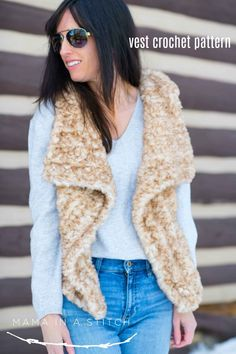 PRINTED Faux Fur Vest Crochet Pattern via love this crocheted faux fur vest! There's a free crochet pattern with photos to help you along. So trendy! Crochet Vest Pattern, Crochet Cardigan, Crochet Shawl, Knit Crochet, Crochet Vests, Crochet Sweaters, Free Pattern, Crochet Cape, Crochet Edgings