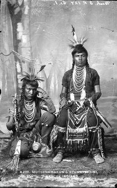 Mutsenamakan and Stumetsekini, Sarcee men. Circa 1900. No additional information.