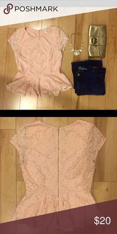 Modcloth Pink Lace Peplum Top, Size L This super sweet and feminine lace top was originally purchase from Modcloth and has only been worn a few times. Full zipper back. Fits true to size but was too short on me (5'8''). ModCloth Tops Blouses