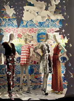 Window Visual Merchandising | VM | Window Display | A Bergdorf Goodman window display featuring artwork by Sean Slaney.