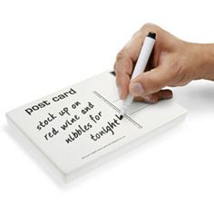 The Post Card Memo Pad gives you a stylish way to leave notes. It can be used to leave short messages, reminders or even funky doodles. You'll never have a problem leaving messages for your friends and loved ones with this dry-erase ceramic memo post card. The Post Card Memo Pad is easy to use over and over again, just wipe it clean and write a new message! $19.95