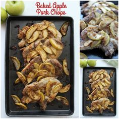 Baked Apple Pork Chops- simple family dinner idea. The perfect recipe for fall. The apple compliments the pork so well. You can use Boneless or Bone-in Pork Chops.