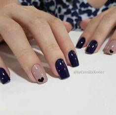 Ideas For Nails Blue Nailart Manicures Stylish Nails, Trendy Nails, Elegant Nails, Hair And Nails, My Nails, Heart Nails, Heart Nail Art, Nice Nails, Nagel Hacks