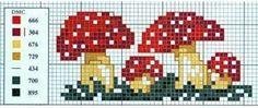 cross stitch toad stool mushrooms