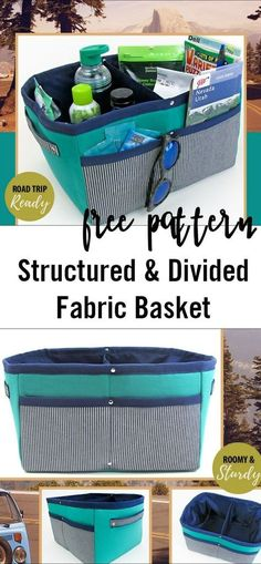 Fabric storage tote to sew - free divided basket sewing pattern!