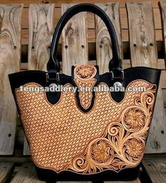 Tooled Leather Two-Toned  Handbag