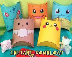 Pokemon Inspired Pillow Boxes Instant by MissFrightsDelights Festa Pokemon Go, Pokemon Party, Pokemon Birthday, Pikachu, Pokemon Craft, Pillow Box, Pillow Cases, Party Packs, Kawaii Cute