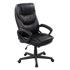 Costway Black PU Leather High Back Office Chair New Task Ergonomic Computer Desk