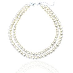 Tagoo Double Strands White Pearl Chunky Choker Necklace for Women&Girls * Read more  at the image link.