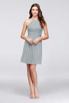 ecebfe73004 Open-Back Lace and Mesh Short Bridesmaid Dress F19752 Girls Dresses