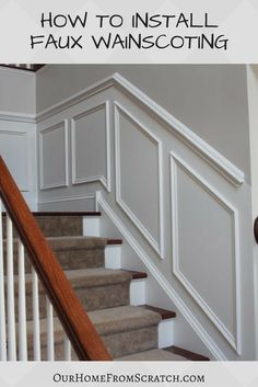 19 Ideas Shadow Box Wall Molding Wainscoting For 2019 Staircase Molding, Stairway Wainscoting, Stairs Trim, Stair Paneling, Installing Wainscoting, Wainscoting Stairs, Staircase Design, Panelling, Stair Trim Ideas