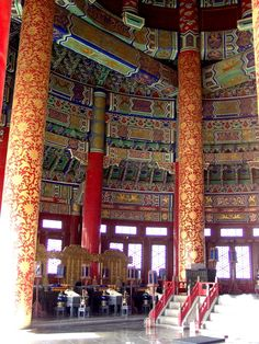 Inside the 'Hall of Prayer for Good Harvest' or 'Temple of Heaven', Beijing, China China Architecture, Temple Of Heaven, Beijing China, China Travel, Angkor, World Heritage Sites, Budget Travel, Shanghai, Japan