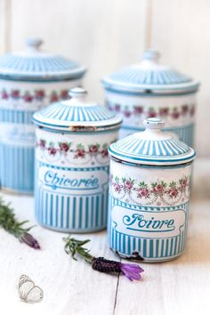 Vintage French Enamel Kitchen Nesting Canister Set of 5 - Art Deco 1920s - BB Frères Turquoise Blue - found at www.rubylane.com @rubylanecom #MondayBlues