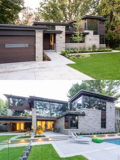 Mid-Century Upgrade – rustic home exterior House Front Design, Modern House Design, Villa Design, Modern Exterior, Exterior Design, Dream House Exterior, Exterior Houses, Luxury Homes Dream Houses, Modern House Plans