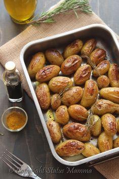 Patate novelle al vincotto balsamico e curry ricetta fingerfood con verdure facile veloce vegano vegetariano Statusmamma gialloblog foto tutorial video economico