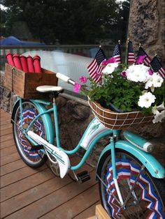 You're never too old to decorate your bike for Independance Day.