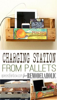 Turn a pallet into an easy wall-mount or desktop charging station to hold your devices using this simple tutorial! (free printable included).