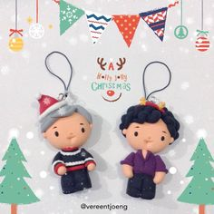 Cumberclays & Cumbercupcakes ~ SHERLOCK (BBC) John Watson (Martin Freeman) & Sherlock Holmes (Benedict Cumberbatch) Christmas ornaments.