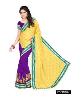 Beautiful yellow purple chiffon saree