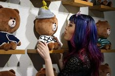 Line friends store in Harajuku! See the cute stuffed Line characters, souvenirs and more: http://www.lacarmina.com/blog/2015/03/pokemon-cafe-tokyo-pompompurin-line-shop/  brown bear line app, line friends stuffed toys