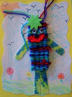 """Floppy Friends"". Weaving with drinking straws. Grades 4-6. By DREAM DRAW CREATE Art Lessons for Children."