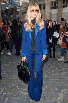 Rachel Zoe in Paris in a blue suit from her own label
