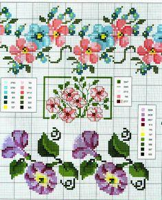 Schemi a punto croce gratuiti per tutti: Schemi a punto croce: Cornici e bordi con fiori co...