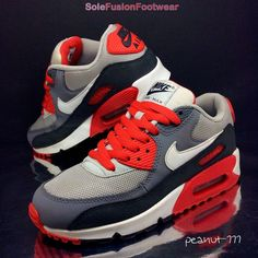 Nike Boys Air Max 90 Grey/Red/Black Trainers sz 5 Girls Sneakers US 5.5Y Kids 38 in Clothes, Shoes & Accessories, Kids' Clothes, Shoes & Accs., Boys' Shoes | eBay