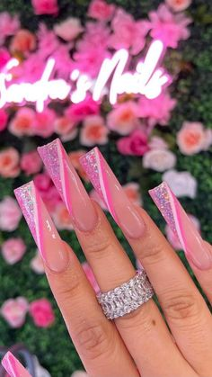 Acrylic Nails Coffin Pink, Long Square Acrylic Nails, Pink Stiletto Nails, Drip Nails, Gel Nails, Bling Nails, Swag Nails, Milky Nails, Dope Nail Designs