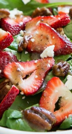 This Strawberry Spinach Salad with Candied Pecans is one of my favorites because it's so simple to make and pairs perfectly with just about anything! Especially during grilling season!