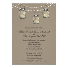 3 Hanging Mason Jars - Wedding Card