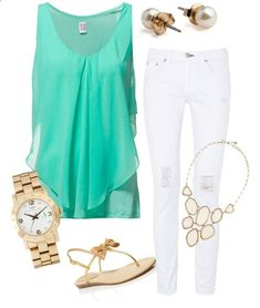 Love this mint and white outfit with Stella Dot's Fiona Bib necklace. Gold Outfit Summer, Casual Date Outfit Summer, Casual Clothing Trends, Cute Summer Casual Outfits, Casual Outfit Winter, Casual Outfits For Fall, Cute Summer Outfits For Girls, Casual Outfits Summer, For Teen Girls Spring Outfits