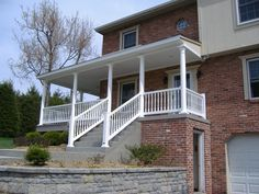 Contoured vinyl porch railing with round vinyl columns. Aesthetic Value, Deck Railings, Columns, Porch, Stairs, Home Decor, Balcony, Stairway, Decoration Home