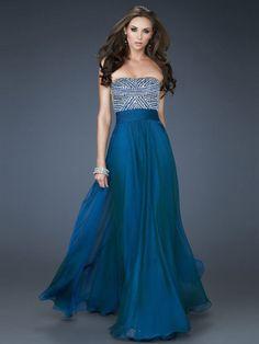 A-line Strapless Chiffon Floor-length Sleeveless Beading Prom Dresses at dressestylish