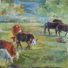 Cows in Landscape Palette Knife Painting Original oil by by cdemum, $165.00