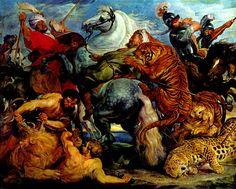 """Hunting Tigers, Lions and Leopards"" -- Detail -- Circa 1615-18 -- Peter-Paul Rubens -- Flemish -- Oil on canvas -- Musée des Beaux Arts, Rennes"