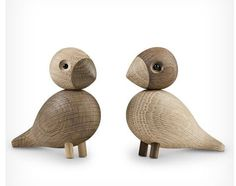 "Lovebirds Wooden Bird Sculptures by Kay Bojesen. The Kay Bojesen Lovebirds wooden figurines designed by Danish designer Kay Bojesen in the finally return after a long hiatus. Lovebirds or ""Turturduvorna"" in Danish, designed by Kay Bojesen. Wooden Bird, Wooden Decor, Little Birds, Love Birds, Birds 2, Objet Deco Design, Wooden Figurines, Wooden Animals, Wood Turning Projects"