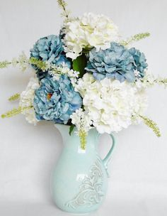 Artificial Flower Arrangement, Teal Peonies, White Hydrangea, Aqua Pitcher/Vase, Silk Flower Arrangement, silk Floral Arrangement, Floral, by BeautyEverlasting on Etsy
