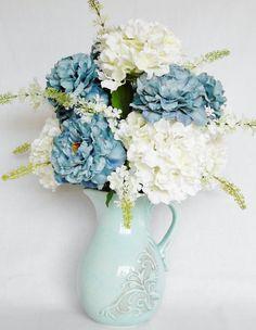Artificial Flower Arrangement, Teal Peonies, White Hydrangea, Aqua Pitcher/Vase, Silk Flower Arrangement, silk Floral Arrangement, Floral, by BeautyEverlasting on Etsy