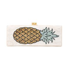 Edie Parker Flavia Pineapple Clutch (22.935 ARS) ❤ liked on Polyvore featuring bags, handbags, clutches, kiss clasp purse, kiss lock purse, edie parker clutches, edie parker handbags and hand bags