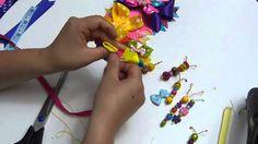 moños para el cabello decorados con mariposas en cinta  No. 346  Manuali...
