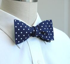 Blue polka dot bow tie at http://www.etsy.com/listing/90455163/mens-bow-tie-in-classic-navy-and-white