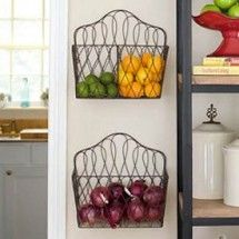 Use a wall-mounted magazine holder to store shelved fruits and vegetables. ~ Home Ideas