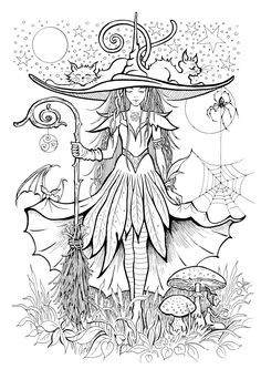 Witch Coloring Pages, Detailed Coloring Pages, Spring Coloring Pages, Adult Coloring Book Pages, Printable Adult Coloring Pages, Fairy Coloring, Cute Coloring Pages, Coloring Books, Stress Coloring Book