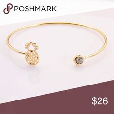 🆕🎄HOLIDAY🎄 PINEAPPLE CRYSTAL GOLDEN BRACELET🍍 🆕 Pineapple crystal golden bangle bracelet. Imported, 10K copper alloy/nickel/lead free. Avoid bathing/sleeping/chemical contact, use soft clean cloth for cleaning. Reasonable offers/bundles welcome, no trades. 5% off 2 items/10% off 3 or more items, just ask. My environment is clean/organized/pet/smoke free. Ask any questions, all sales are final on PM. Thank you for shopping my boutique. DARLING Jewelry Bracelets