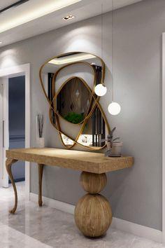 Home Decoration Ideas 2020 Foyer Design, Home Room Design, House Design, Home Entrance Decor, Entryway Decor, Luxury Interior Design, Interior Design Inspiration, Dressing Table Mirror Design, Home Decor Bedroom
