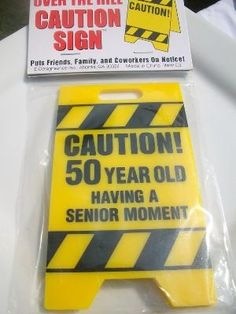 50th Birthday Caution Signs | Caution over the Hill sign Birthday 50th | Gift Ideas